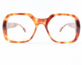 Vintage 70s Eyeglass Frame | NOS 1970s Eyeglass Frame | Amber Tortoiseshell Oversized Square Eyeglasses - Pagoda