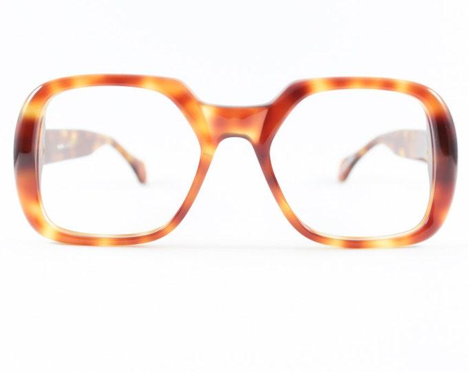 Vintage 80s Eyeglass Frame | NOS 1980s Eyeglass Frame | Amber Tortoiseshell Oversized Square Eyeglasses - Pagoda