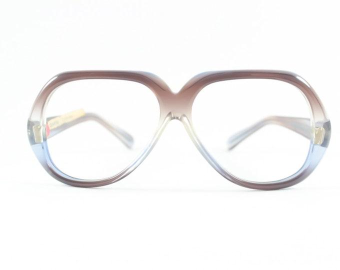 Vintage 70s Eyeglasses   Clear Purple & Blue Oversized Glasses   NOS 1970s Aviator Eyeglass Frame   Deadstock Eyewear - Quantas