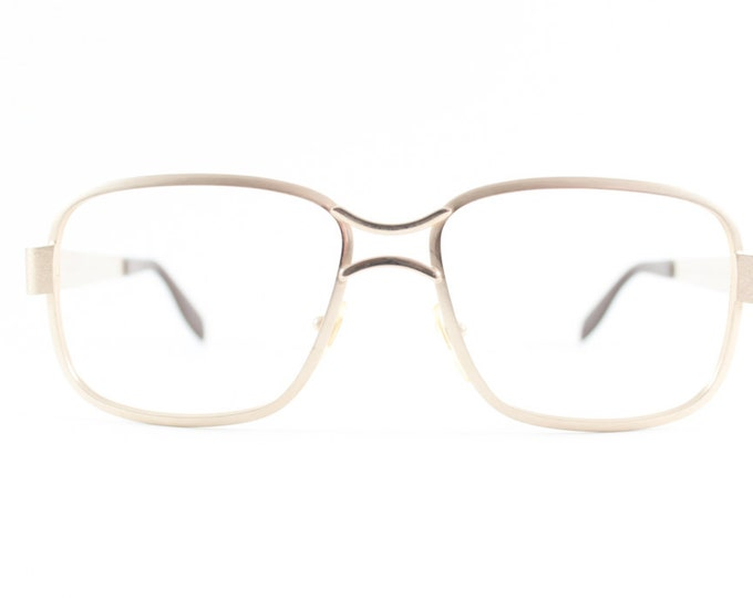 Vintage 70s Eyeglasses   1970s Safilo Gold Square Horn-Rimmed Glasses   NOS Eyeglass Frame   Deadstock Eyewear - New Yorker
