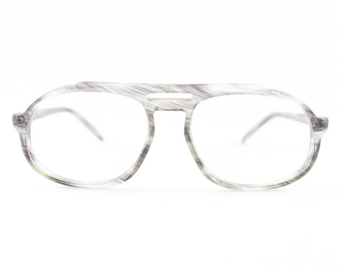 70s Vintage Eyeglasses | Safilo Clear Grey Aviator Glasses | NOS 1970s Aviator Eyeglass Frame | Deadstock Eyewear - Age of Aqaurius