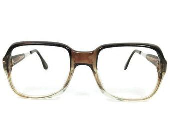 70s Vintage Eyeglass Frame | Clear Grey Square Glasses | NOS 1970s Eyeglasses | Deadstock Eyewear - Bristol Grey