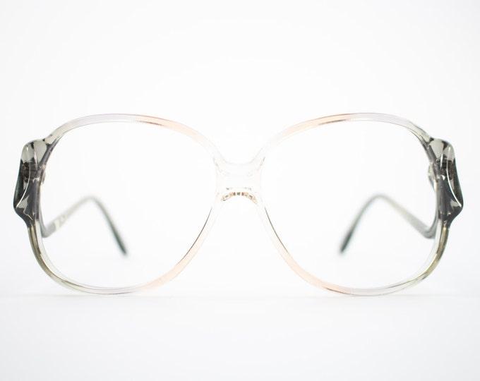 70s Vintage Glasses | Clear Grey Oversize Rounded Eyeglass Frame | NOS 1970s Eyeglasses | Deadstock Eyewear  - Riga 3
