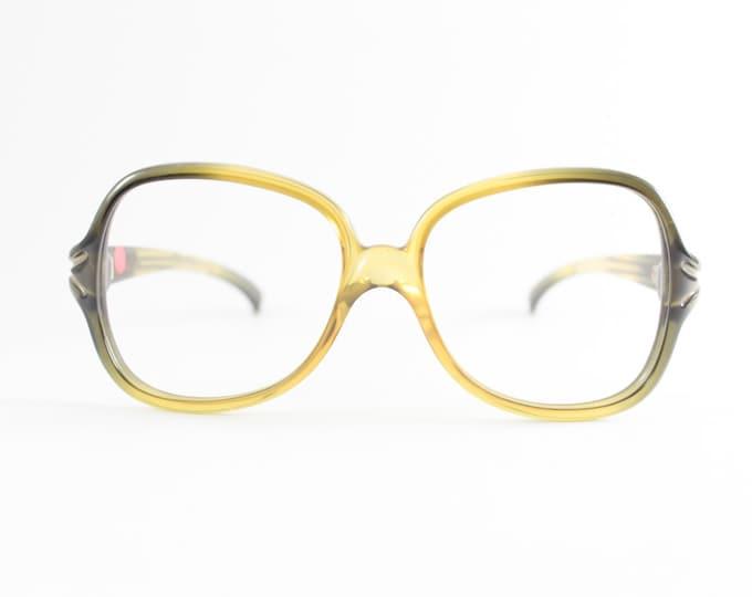 70s Vintage Eyeglasses   1970s Viennaline Olive Oversized Round Glasses   NOS Eyeglass Frame   Deadstock Eyewear - Manzanilla