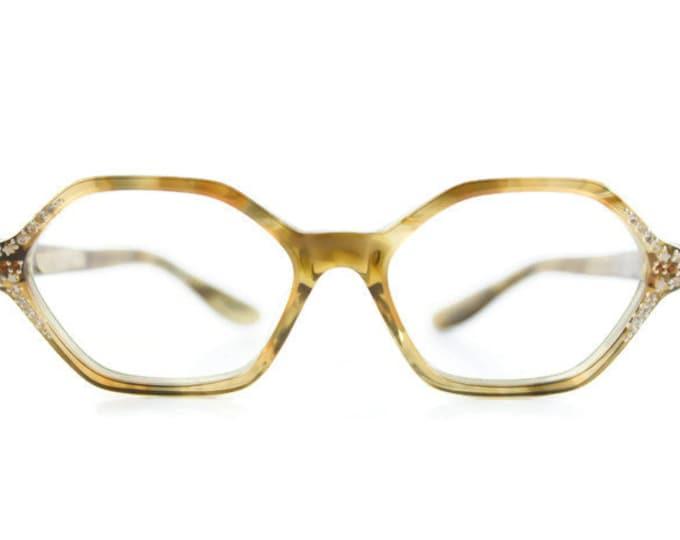Vintage 1960s Translucent Smoky Olive Hexagonal Horn-Rimmed Eyeglass Frame with Crystals