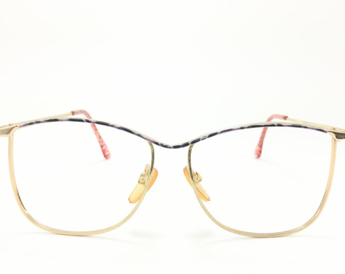 Vintage 80s Glasses | Gold Metal Oversized Eyeglass Frame with Purple Crackle Browline | 1980s NOS Eyeglasses - Bettie