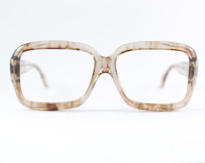 70s Vintage Eyeglass Frame | 1970s Translucent Two-Tone Smoky Brown | Oversize Square Glasses - Pueblo Oak