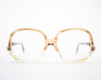 Vintage 70s Eyeglasses | 1970s Clear Amber Round Glasses | NOS Eyeglass Frame | Deadstock Eyewear - Colossal Pecan