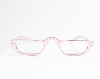 Vintage 1960s Metallic Pink Cateye Reading Eyeglass Frame