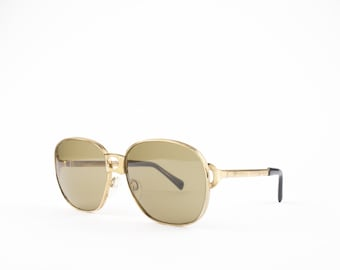 Vintage 60s Oversized Sunglasses | Round Gold Frame | Brown Lenses - Rodas XX