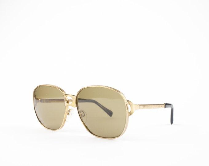 Vintage 60s Oversized Sunglasses | Round Gold Frame | Brown Lenses - Rodas XX