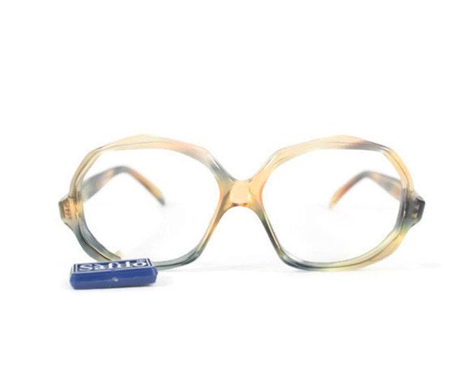 1970s Vintage Eyeglasses | Safilo Clear Peach and Grey Glasses | NOS Oversized Round Eyeglass Frame | Deadstock Vintage Eyewear  - Adriana