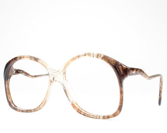 80s Vintage Eyeglasses   Clear Dappled Brown Glasses   Cute Eyeglass Frame   1980s Oversized Round Glasses - 307 33002