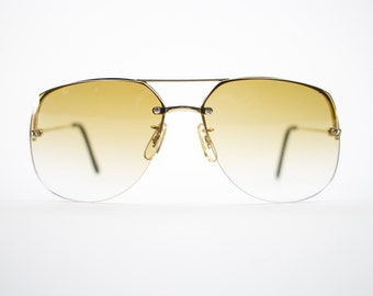 Vintage 70s Sunglasses | Gold Aviator Sunglasses | 1970s Sunglasses | Oversize Amber Brown Lenses | Vintage Deadstock - Romford Gold XX