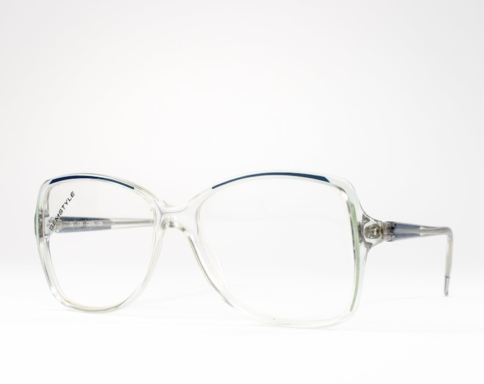 80s Glasses | 1980s Vintage Eyeglasses | Clear Glasses Frames with Green and Teal Detail | Seventies Deadstock Eyewear - Cellidor 216