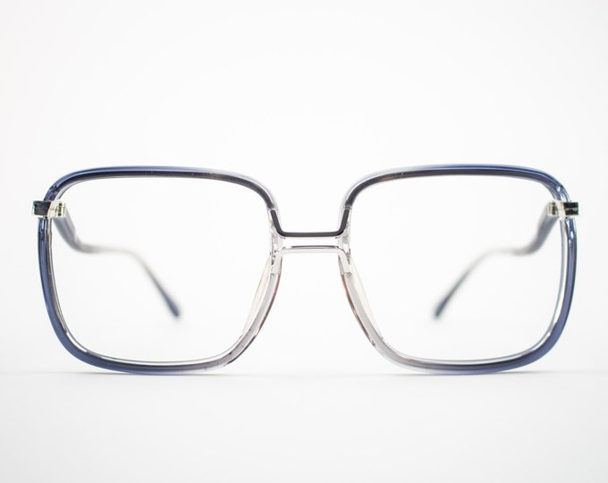 Vintage 70s Glasses | 1970s Blue Oversized Square Eyeglasses | NOS Eyeglass Frame | Deadstock Eyewear - Fall Blue
