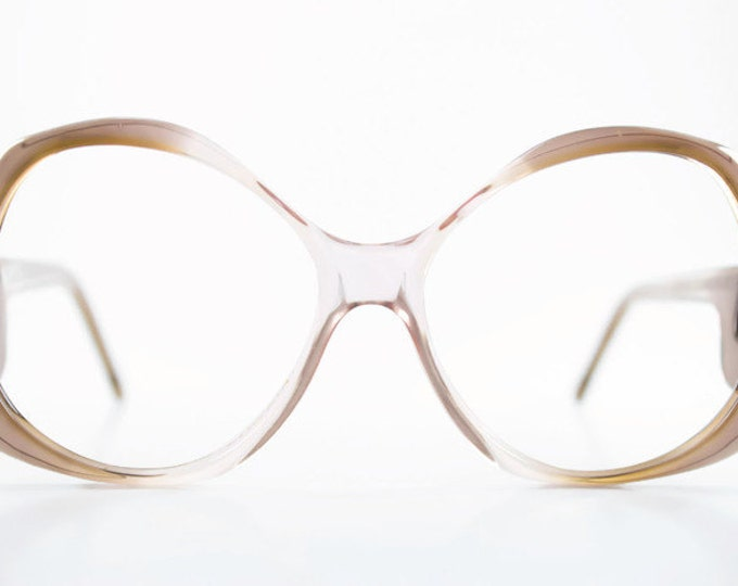 Vintage 1980s Translucent Grey Pink Ombre Oversized Rounded Eyeglass Frame - Miami Grey Pink