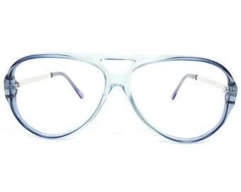 80s Vintage Aviator Glasses | Clear Blue Eyeglass Frame | 1980s NOS Eyeglasses - January
