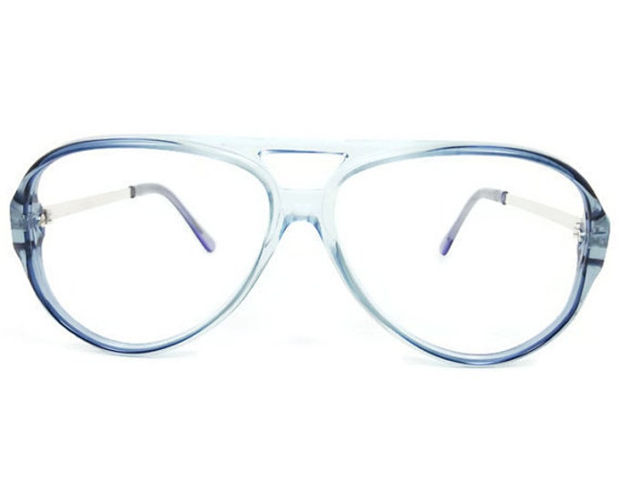 80s Vintage Aviator Glasses | Clear Blue Eyeglass Frame | 1980s NOS Eyeglasses - January
