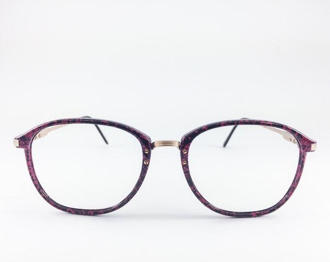 Vintage 80s Glasses | Oversized Round Eyeglass Frame | 1980s NOS Pink and Black Crackle Eyeglasses  - Fifth Ave