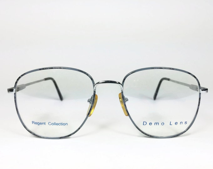 Vintage 1980s Glasses | Round Eyeglass Frame with Demo Lenses | NOS 80s Grey and Black Speckled Eyeglasses - Regent