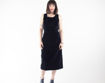 Vintage Velvet Dress | 50s Sleeveless Wiggle Dress | 1950s Henry Rosenfeld | Goth Grunge Rockabilly Fashion