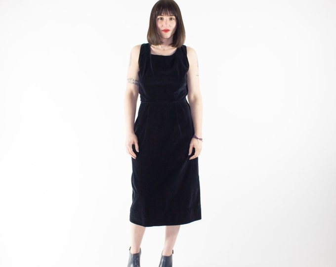 Vintage Velvet Dress | 50s Sleeveless Wiggle Dress | 1950s Henry Rosenfeld | Goth Grunge Rockabilly Fashion