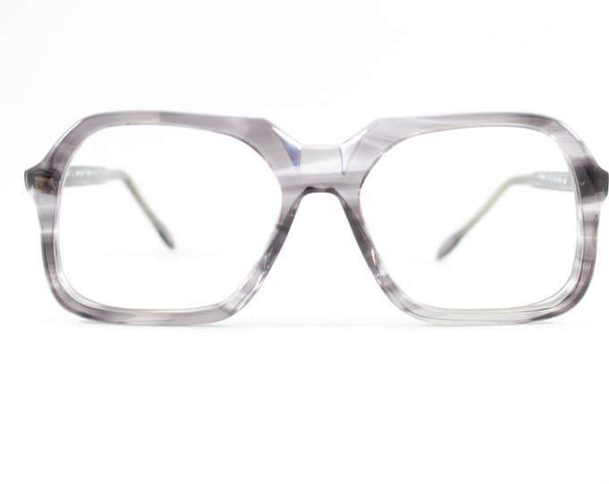 70s Vintage Eyeglass Frame | Clear Grey Geometric Glasses | NOS 1970s Eyeglasses | Vintage Deadstock Eyewear - Tony Feather