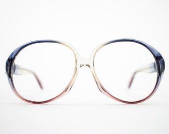 70s Vintage Glasses | Round Oversized 1970s Eyeglasses | Clear Blue and Purple Eyeglass Frame | Deadstock Eyewear - Atlanta 1