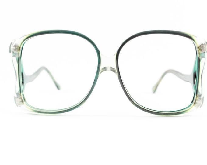 70s Vintage Eyeglasses | Clear Green Oversized Glasses | NOS 1970s Eyeglass Frame | Deadstock Eyewear - Funkadelic