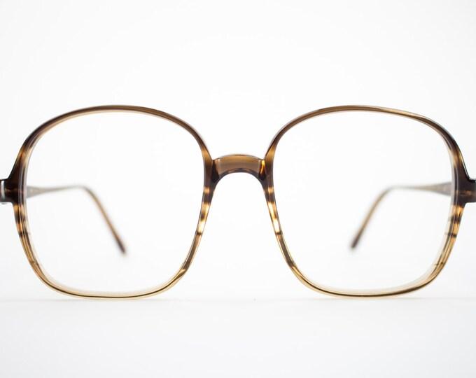 80s Vintage Eyeglass Frame | Oversized Clear Brown Stripe Glasses | 1980s NOS Eyeglasses  - Oxford 1