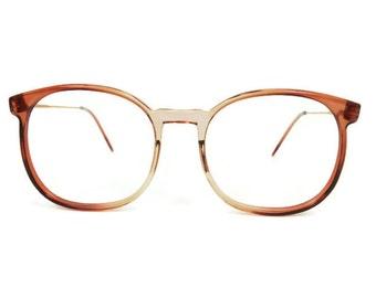 1980s Vintage Eyeglasses   Round Oversize 80s Glasses   NOS Clear Brown Horn Rim Eyeglass Frame   Vintage Deadstock - March Brown