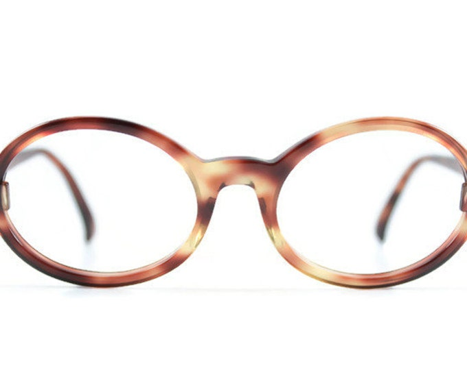 Vintage 1960s Bausch and Lomb Cool Mod Brown Tortoiseshell Oval Eyeglass Frame - Tenley