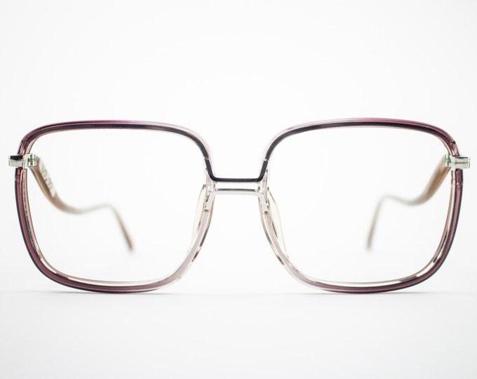 1970s Vintage Eyeglass Frame |  70s NOS Blue Grey Oversized Square Glasses | NOS Eyeglasses | Deadstock Eyewear - Fall Grey