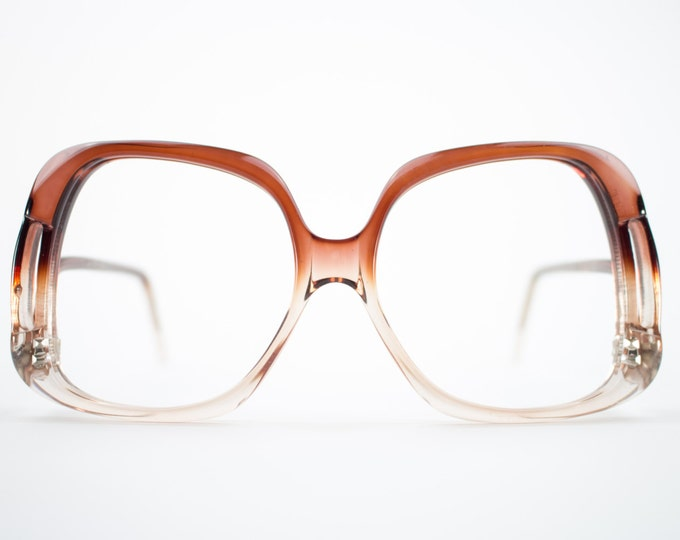 70s Vintage Eyeglasses | Clear Brown Fade Eyeglass Frame | Oversize Rounded Cutout Glasses | 70s Deadstock - Oslo Brown Fade