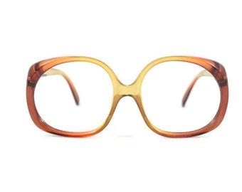 1970s Vintage Glasses   Optyl Clear Brown Oversized Round Eyeglass Frame   NOS 1970s Eyeglasses   Vintage Deadstock Eyewear  - 3009