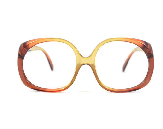 1970s Vintage Glasses | Optyl Clear Brown Oversized Round Eyeglass Frame | NOS 1970s Eyeglasses | Vintage Deadstock Eyewear  - 3009