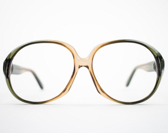 Vintage 1970s Glasses | NOS Round Oversized 70s Eyeglass Frame | Clear Brown Eyeglasses | Deadstock Eyewear - Atlanta 1
