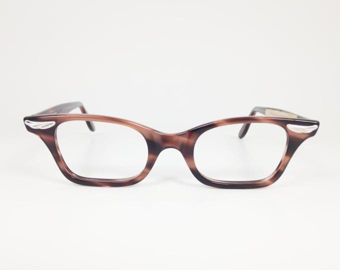 Vintage 60s Eyeglasses | Tortoiseshell Horn-Rimmed Glasses with Wing Detail | NOS Eyeglass Frame | Deadstock Eyewear