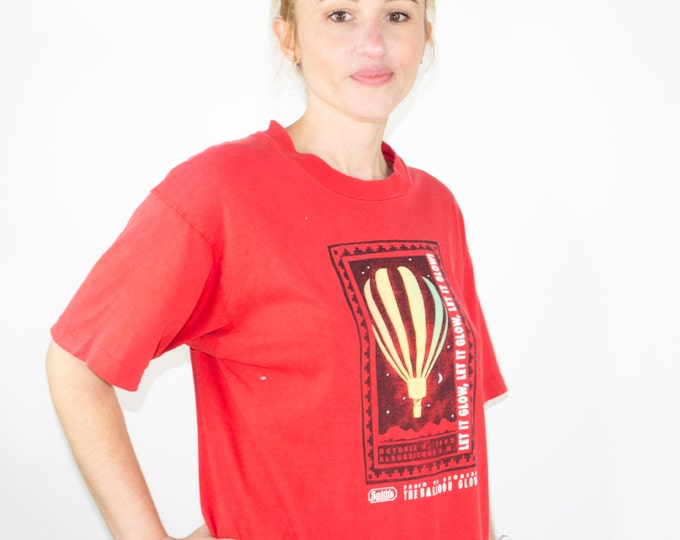 90s Vintage Hot Air Balloon T-Shirt | Glow in the Dark Red Tee | 1992 Balloon Festival Graphic Shirt | Size Large