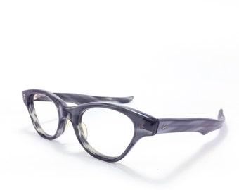 60s Vintage Cateye Eyeglasses   1960s Victory Grey Cateye Glasses   NOS Eyeglass Frame   Deadstock Eyewear - Stormy