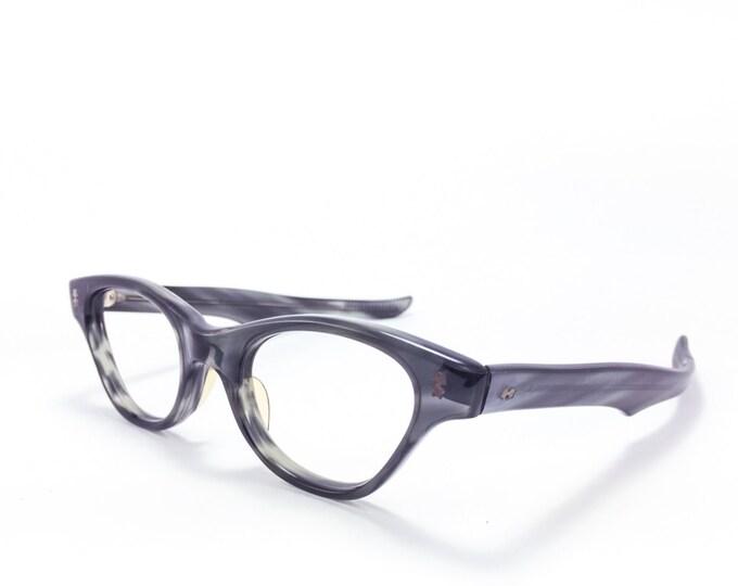 60s Vintage Cateye Eyeglasses | 1960s Victory Grey Cateye Glasses | NOS Eyeglass Frame | Deadstock Eyewear - Stormy