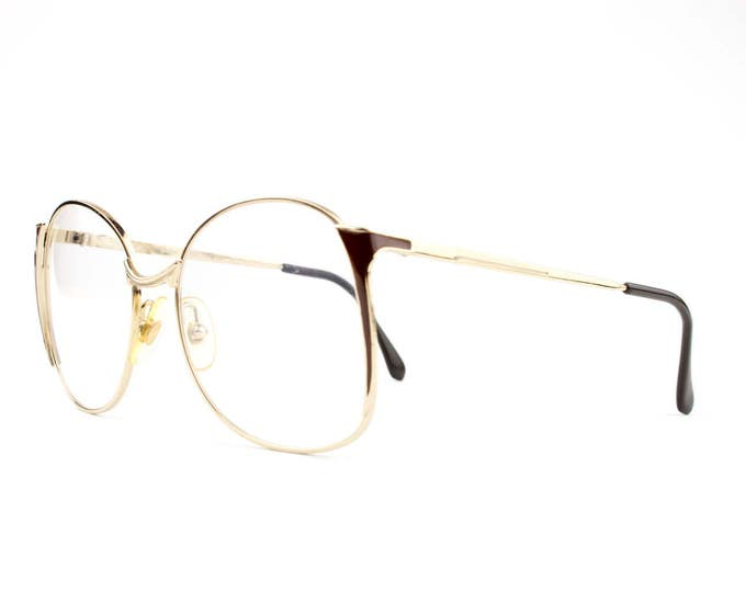 80s Vintage Glasses | Round Oversized Eyeglasses | 1980s Gold and Cocoa Eyeglass Frame | NOS Deadstock Eyewear - Tempest