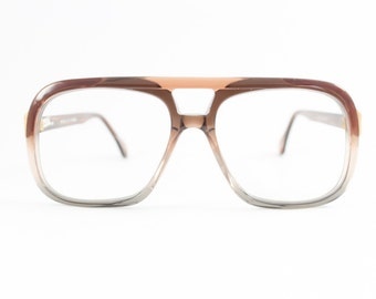 Vintage 80s Glasses | Clear Brown Aviator Eyeglass Frame | 1980s NOS Eyeglasses - Lincoln Stone
