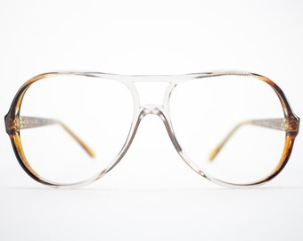 80s Vintage Aviator Eyeglass Frame | Clear Brown Glasses | 1980s NOS Eyeglasses  - Exclusif 292D