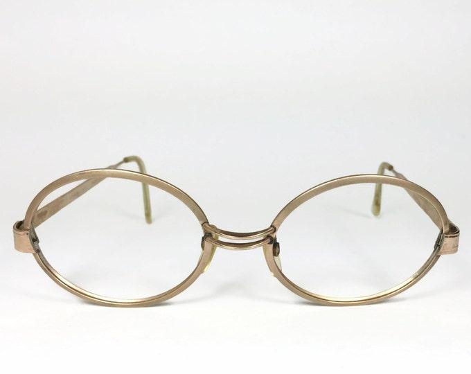 Vintage 1960s Eyeglasses | Etched Gold Round Glasses | NOS Deadstock Eyeglass Frame - Team