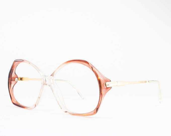 Vintage Glasses | 1980s Clear Pink Ombre Rounded Eyeglasses | 80s Eyeglass Frame | NOS Vintage Deadstock - Veracruz No. 1