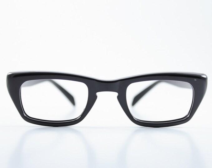 Vintage 1950s Petite Black Nylon Modern Horn-Rimmed Eyeglass Frame