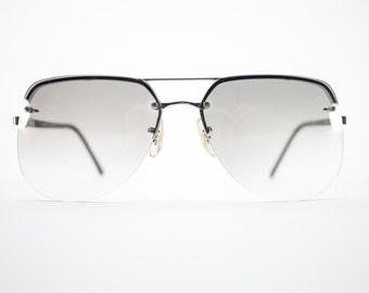 Vintage 70S Sunglasses | Silver Aviator Sunglasses | Oversize Grey Gradient Lenses | 1970s Sunglasses | Vintage Deadstock - Aspen Silver