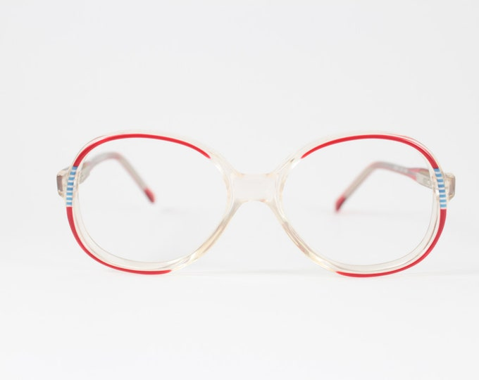 1980s Vintage Glasses | Clear Round Eyeglass Frames with Red and Blue Detail | 80s NOS Eyeglasses - Missy